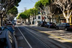 Wagon kolei linowej w San Fransisco Kalifornia Stany Zjednoczone Ameryka Fotografia Stock
