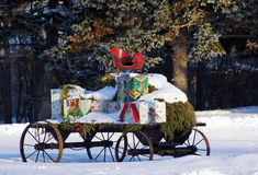 Wagon loaded with Christmas gifts Royalty Free Stock Image