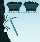 Wagon loaded with coal. Icon royalty free illustration
