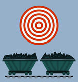 Wagon loaded with coal. Icon. Target concept stock illustration