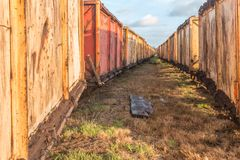 Wagon of a moor train. Look between two rows of mine carts for peat mining Royalty Free Stock Images