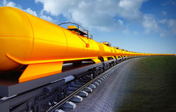 Wagon of oil cisterns train on the sky background. 3d illustration of oil cistern train on the sky background Royalty Free Stock Images