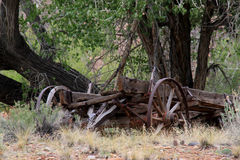 Wagon Remains. Image of what remains of a vintage wagon used by the Mormon pioneers while making the trek to Utah Stock Photos