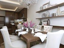 Wagon-restaurant de cuisine dans le style néoclassique illustration libre de droits