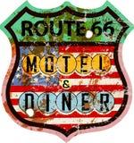 Wagon-restaurant de l'itinéraire 66 de vintage et signe de motel, illustration stock