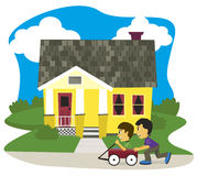 Wagon Ride. Vector illustration of two boys playing in a wagon Royalty Free Stock Photos