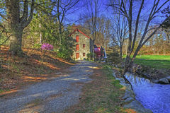 Wagon Road Leads To The Old Mill in Sudbury, Massachusetts Stock Image