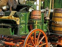 Wagon's West. A wagon is fully stocked and loaded for the Westward journey Stock Photo