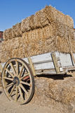 Wagon with straw. Image of a trailer full of straw Stock Photo