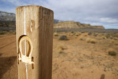 Wagon Trail Marker. These posts mark the trail for the Hole in the Rock trail, when Mormon pioneers made a trek through southern Utah to create a new settlement Royalty Free Stock Image