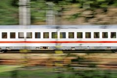 Wagon of train on blurred background. Wagon of train in move, motion blur Royalty Free Stock Photos