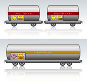 Wagon train danger liquid. Wagon train for liquid with Emergency Action Code, reflection and background Stock Photography