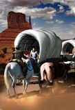 Wagon train flirt Royalty Free Stock Photo