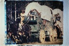 Wagon train taken at a historical reenactment royalty free stock photography