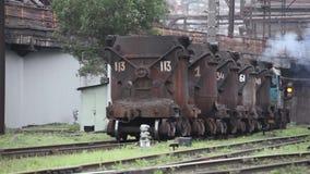 Wagon for transportation of liquid iron stock video footage