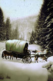 Wagon under the snow. A western wagon with two horses and a mule, into a cold snowy landscape Royalty Free Stock Photos