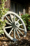 Wagon Wheel. Rests against a tree Royalty Free Stock Image