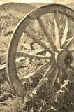 Rustic Wagon Wheel Sepia Stock Images