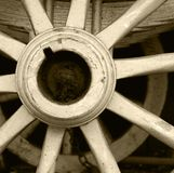 The wagon wheel. Image of an old fashioned wagon wheel stock image