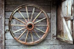 Wagon wheel. In barn Royalty Free Stock Images