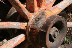 Wagon wheel. Detail of wagon wheel hub Stock Photos