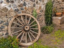Wagon Wheel and Cactus stock photo