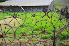 Wagon Wheel Fence Stock Image