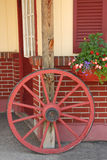 Wagon wheel and flower box Berkshires MA royalty free stock photos