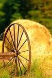Wagon wheel and Hay Royalty Free Stock Photos