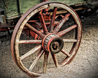 Wagon Wheel in HDR. An HDR image of a rustic wagon wheel taken near Tortilla Flat, AZ royalty free stock images