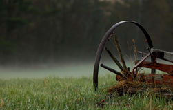 Wagon Wheel in the Mist stock images