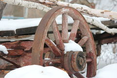 Wagon Wheel on old cart Stock Image