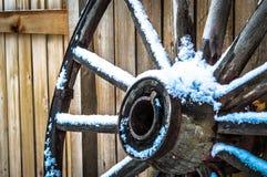 Wagon Wheel. On a snowy Colorado day Stock Photos