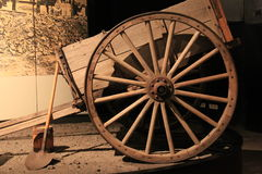 Wagon and wheel with tools used for gold digging, State Museum, Albany, New York, 2015 Stock Photography