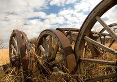 Wagon wheels. Grain wagon wheels in a field Royalty Free Stock Photography
