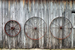 Wagon Wheels. Hanging on a barn wall Royalty Free Stock Photo