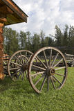 Wagon Wheels. And axle in a frontier setting Royalty Free Stock Photography