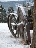 Wagon Wheels. This picture of the old wagon, emphasizing the wheels, was taken in western MT Stock Photos