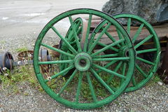Wagon wheels on display at jade city Royalty Free Stock Image