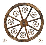 Wagon Wheels isolated. A collection of differnt size decorative wagon wheels Stock Image