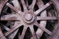 Wagon wheels. Old rustic wooden wagon wheels. close up Royalty Free Stock Photo