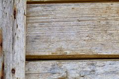 Wagon Wood. The wood siding on the wagon shows its weathering and rust from long use stock photo