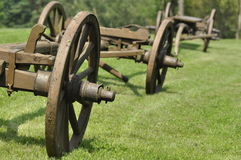 Wagon with wooden wheels. Museum, renovated monument. Royalty Free Stock Image