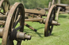 Wagon with wooden wheels. Museum, renovated monument. waggon-driving' Royalty Free Stock Photo