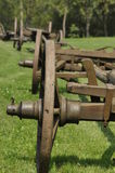 Wagon with wooden wheels. Museum, renovated monument. Royalty Free Stock Photo