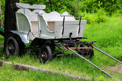Wagon in the yard of the rural house in Ukraine Stock Photography