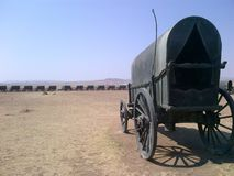 Wagons in a circle displaying camps many years ago. And how they lived stock photography