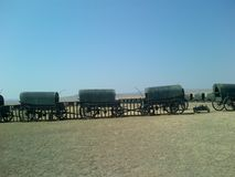 Wagons in a circle displaying camps many years ago. And how they lived stock image