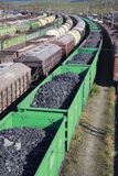 Wagons with coal at the station Kandalaksha Royalty Free Stock Image