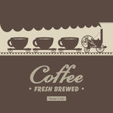 Wagons with cups. Banner menu for cafe with a locomotive and wagons with cups Royalty Free Stock Images